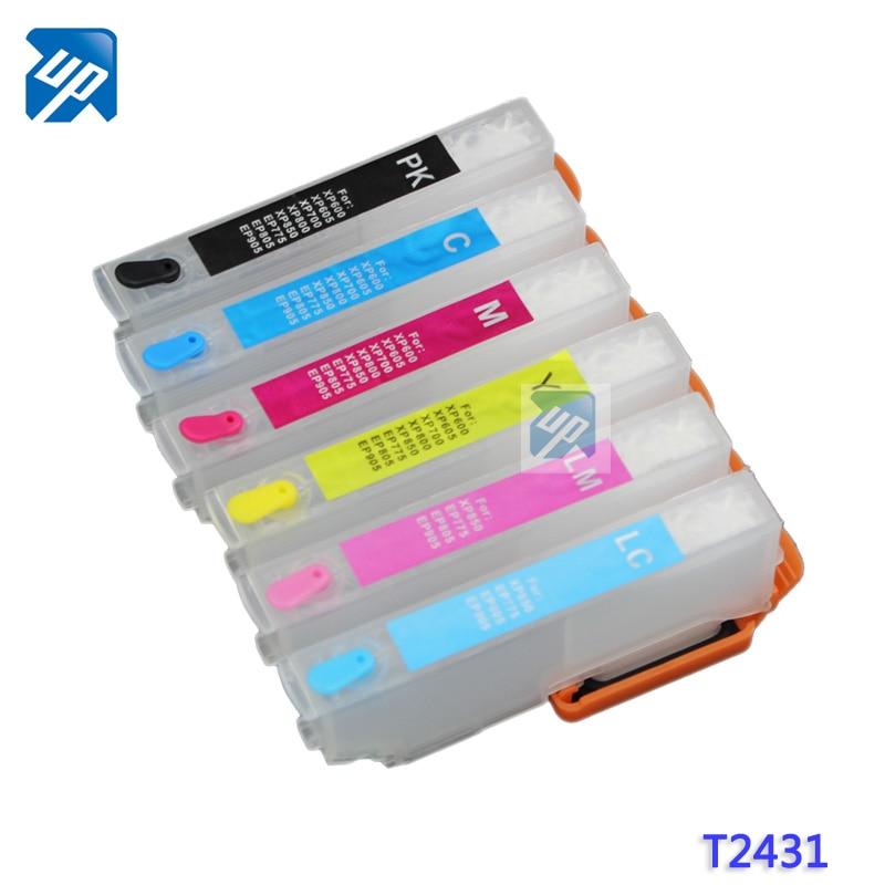 5sets T2431XL T2431 Empty Refillable Ink Cartridges For Epson XP 750 XP760 XP850 Xp860 XP950 XP