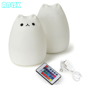 Image 2 - Free Star 7 Color Changed Night Light Cartoon Cat Nightlights For Children With Remote Control 3D Kitty Christmas Xmas Lamp Gift