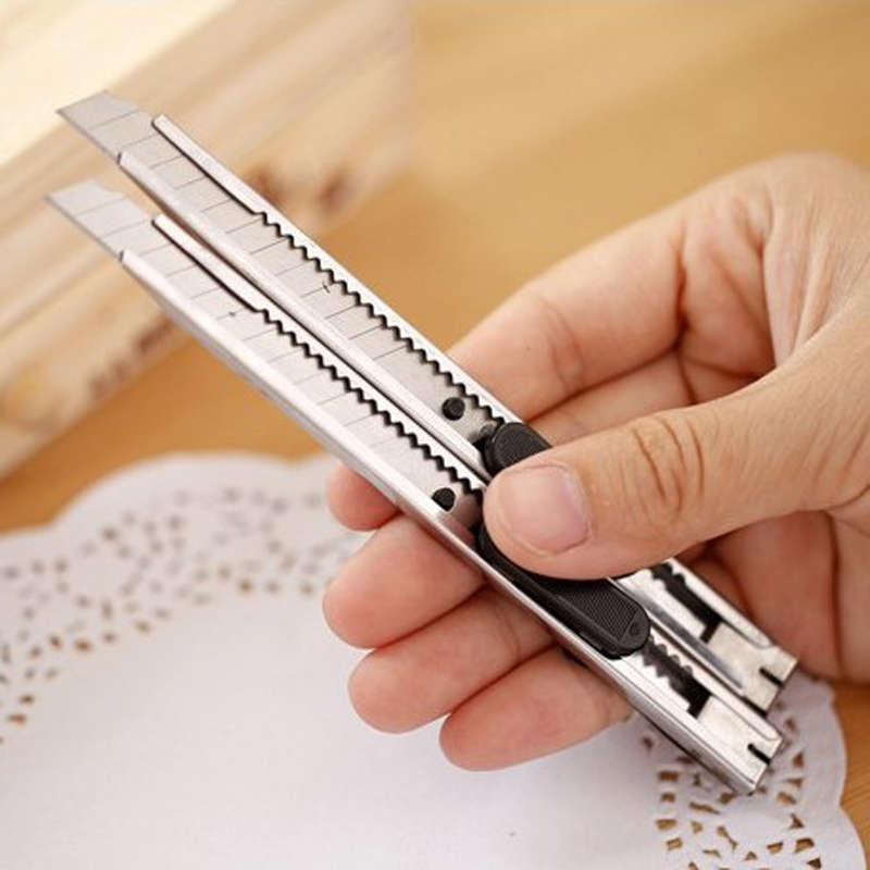 Stainless Steel Metal Art Paper Cutter Cutting Letter Opener Stationery Retractable Blade Utility Knife For School Office Tool