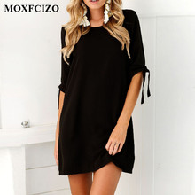MOXFCIZO Women Vintage Dress Black Green Summer Dresses Fashion Casual Womens Clothing Solid Simple Short Sleeves