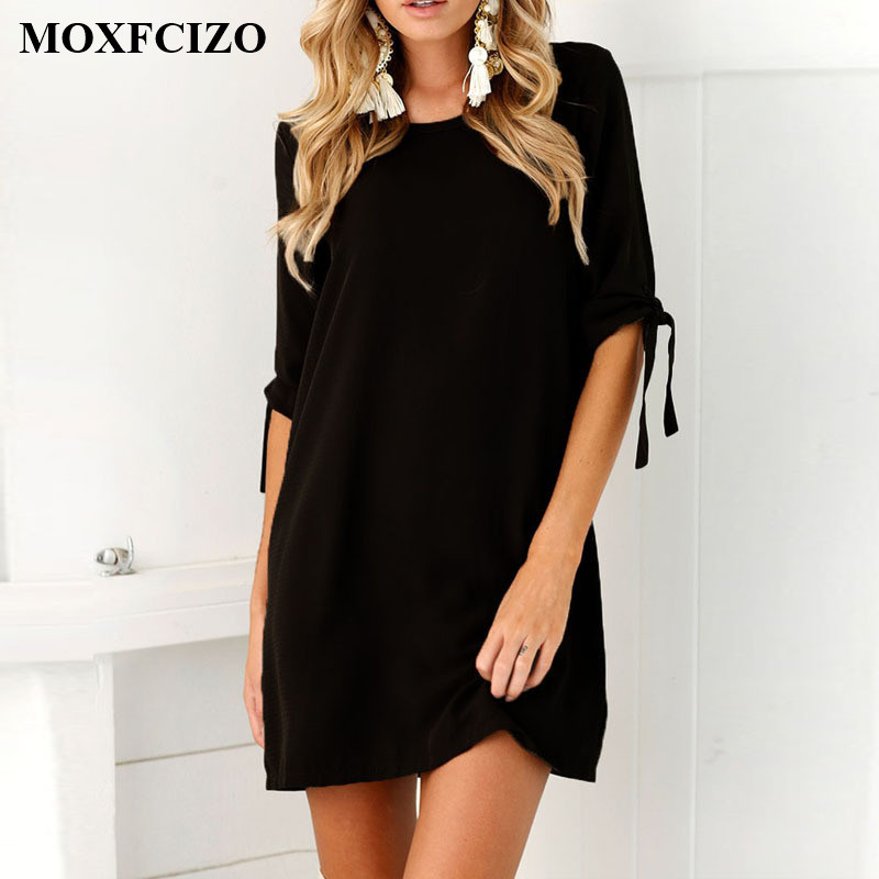 MOXFCIZO font b Women b font Vintage Dress Black Green Summer Dresses Fashion Casual font b