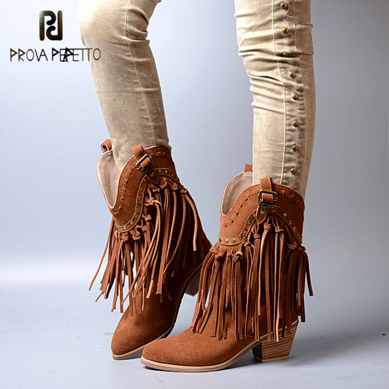 Prova Perfetto Ethnic Style Tassels Rivets Bordered Woman Mid-Calf Boots Cow Genuine Leather Pointed Toe Spike High Heel Boots prova perfetto fashion round toe low heel mid calf boots feminino buckle belt thick bottom genuine leather women s martin boots