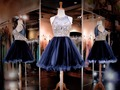 Glamous 2016 New Navy Blue Illusion Neckline Beaded Bodice Short Organza Homecoming Dress