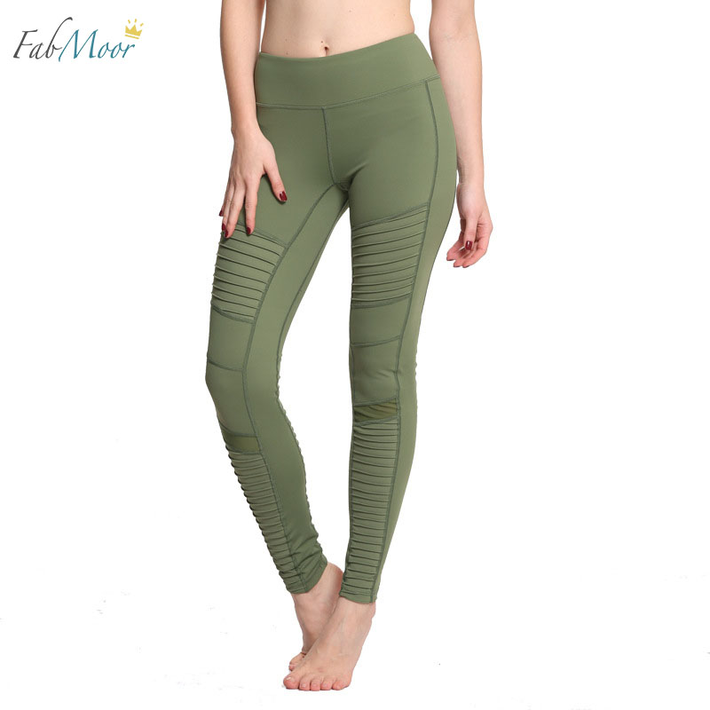 New Green Moto Yoga Leggings Mesh Patchwork Yoga Pants ...
