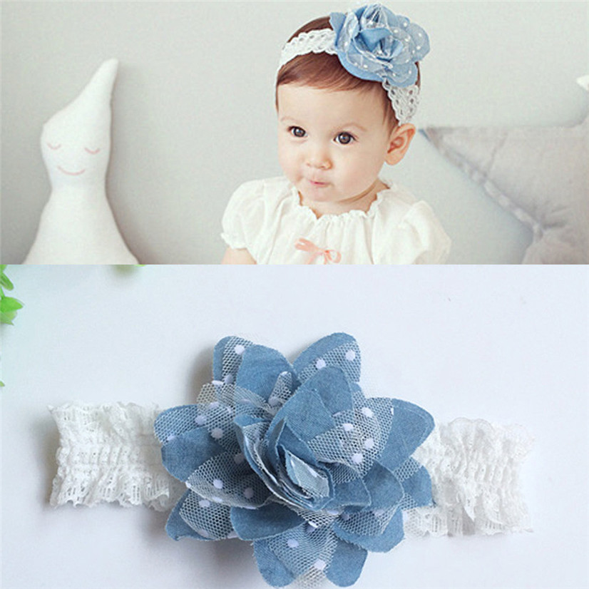PARRY Drop ship hair accessories headband cute Baby Girls Princess Denim Flower Headbands Photography Props Elastic HairbandS40x parry fashion cute baby kids girls colorful mini bowknot hairband elastic baby headband drop ship july3 p30x