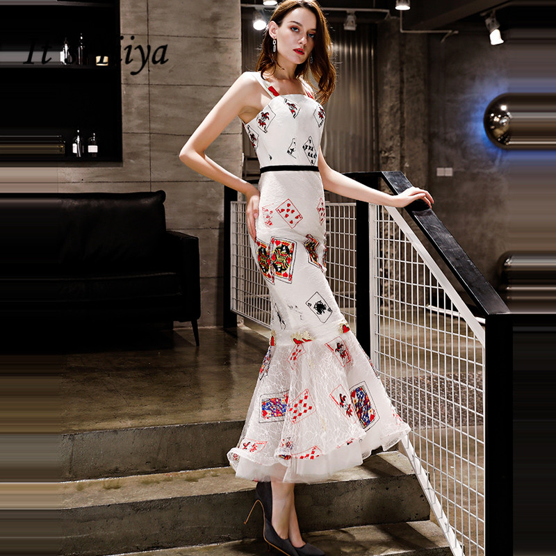 It's YiiYa   Evening     Dress   2018 Embroidery Printing Spaghetti Strap White Boat Neck Trumpet Dinner Gowns LX1290 robe de soiree