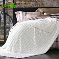 U miss Thicken Soft spring autumn Coral Wool Blanket Colorfast on The Bed Business Gifts Fiber Stripe Rectangle Portable Blanket