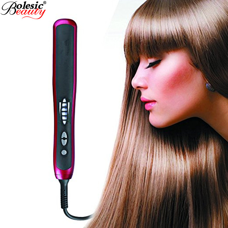 Pro Lcd Heating Electric Ionic Hair Iron Ceramic Fast Safe