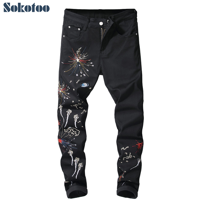 Sokotoo Men's Fireworks Embroidery Black Jeans Trendy Stretch Denim Pencil Pants Trousers