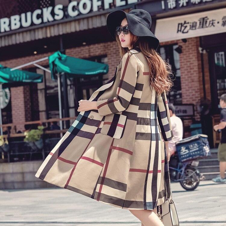 Revers Manteau Style Moyen Et Longueur vent Coupe Hiver Plaid Tranchée Nouveau Automne Rétro Femme tXUxavqwWw