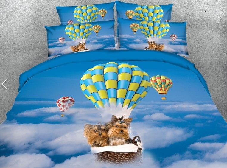 Chiens chien ensemble de literie de luxe 3D couette housse de couette coton draps de lit drap de lin Super King Queen size lit double complet dans un sac 4 pièces