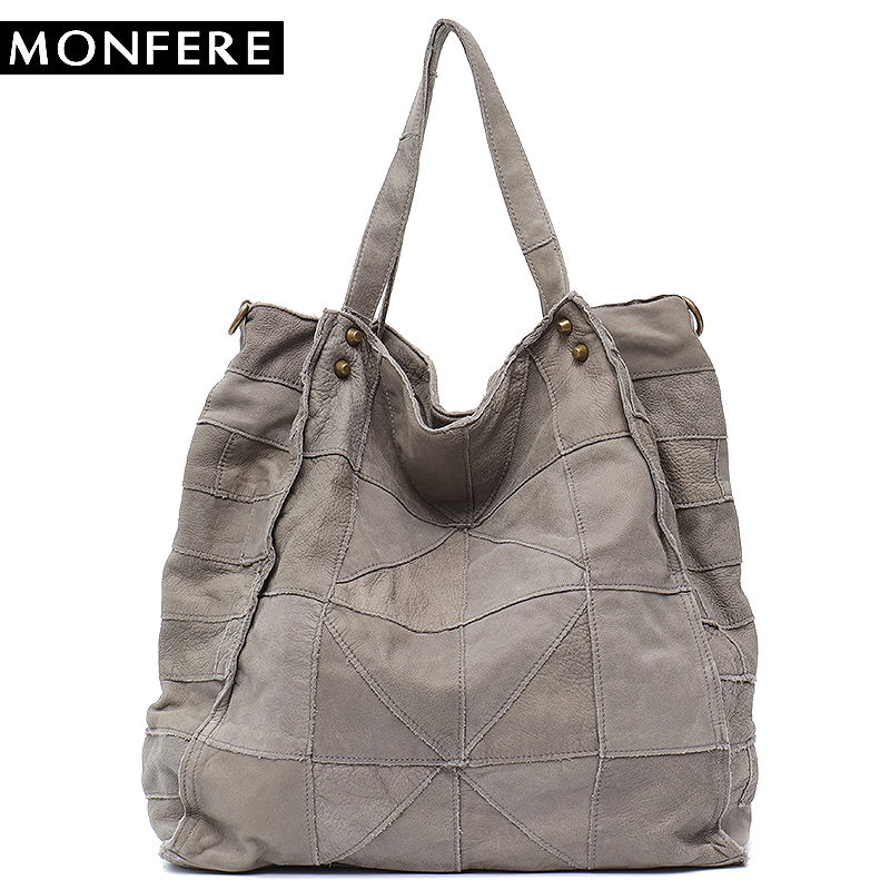 29d1e66d2d MONFERE Vintage Leather Women Big Tote Bags Real Leather Messenger Shoulder Bags  Female Large Quilted Woman Bag Genuine Leather