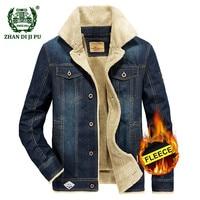 Large Size M 6XL 2019 Winter men fleece warm cowboy jacket coat man spring autumn fashion casual brand denim blue jackets coats