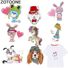 ZOTOONE Cute Dog Patches Unicorn Cat Stickers  Iron on Transfers for Clothes T-shirt Heat Transfer DIY Accessory Appliques F1