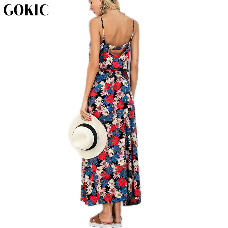 GOKIC Franchised Store GOKIC 2017 Newest Bohemian Women Colorful Printed Floral Strap Flowers Ankle-Length V-neck Summer Boho Long Maxi Dresses