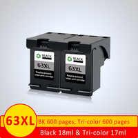 XiangYu 2x cartucho de tinta compatible para HP63 63XL 63 HP Officejet 3830 4650 4652 envidia 4516, 4520