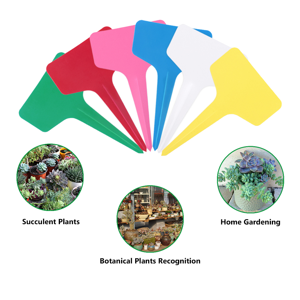 50pcs/lot Plastic Plant Labels Mark T-type Plant Flower Tag Garden Ornaments Gardening Label Nursery Flower Tag 6 Color Reusable