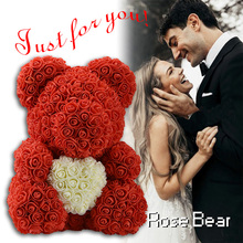 WR Creative Red Pink Wedding Flower Rose Bear With Heart Christmas Decoration Gift For Valentines Day New Year