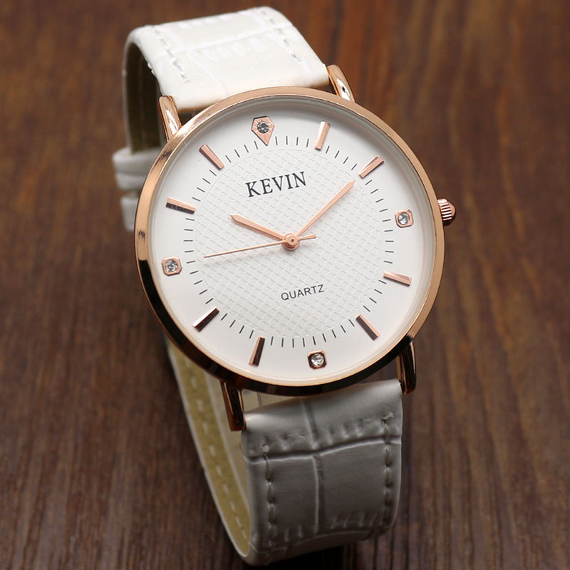 KEVIN Relogio Masculino Simple Style Elegant White Leather Band Quartz Wrist Watch Men Watches Men's Male Gift W090202 watch men leather band analog alloy quartz wrist watch relogio masculino hot sale dropshipping free shipping nf40