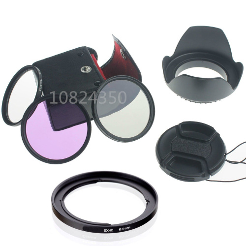 Digital DSLR Camera 6in1 1 set 67mm UV CPL FLD Filter Set + Lens Hood+Cap for Canon PowerShot SX50 SX40 HS