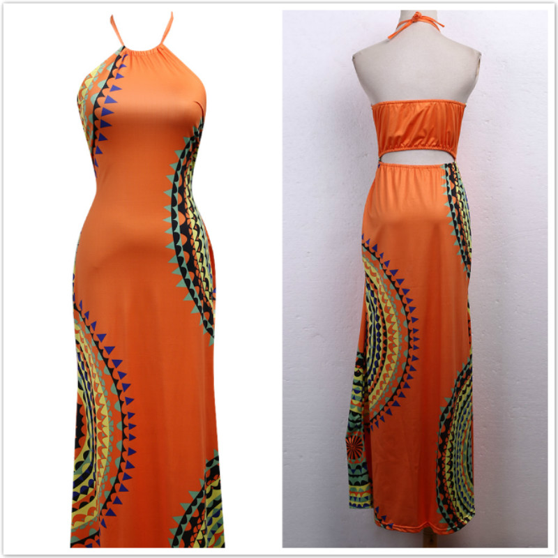 Vestidos Ladies Sleeveless Dresses Women 2016 Summer New Beach Casual Vintage Print A Line Split Maxi Dress Plus Size S-3XL 3