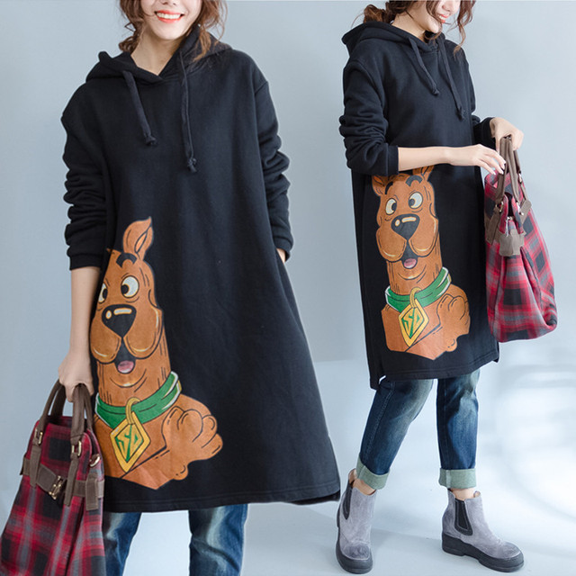 Plus Size 5XL NEW Autumn Winter Women Fashion Kawaii Dog Print Tops Female Ladies Large Big Long Cotton Fleece Sweatshirt Dress