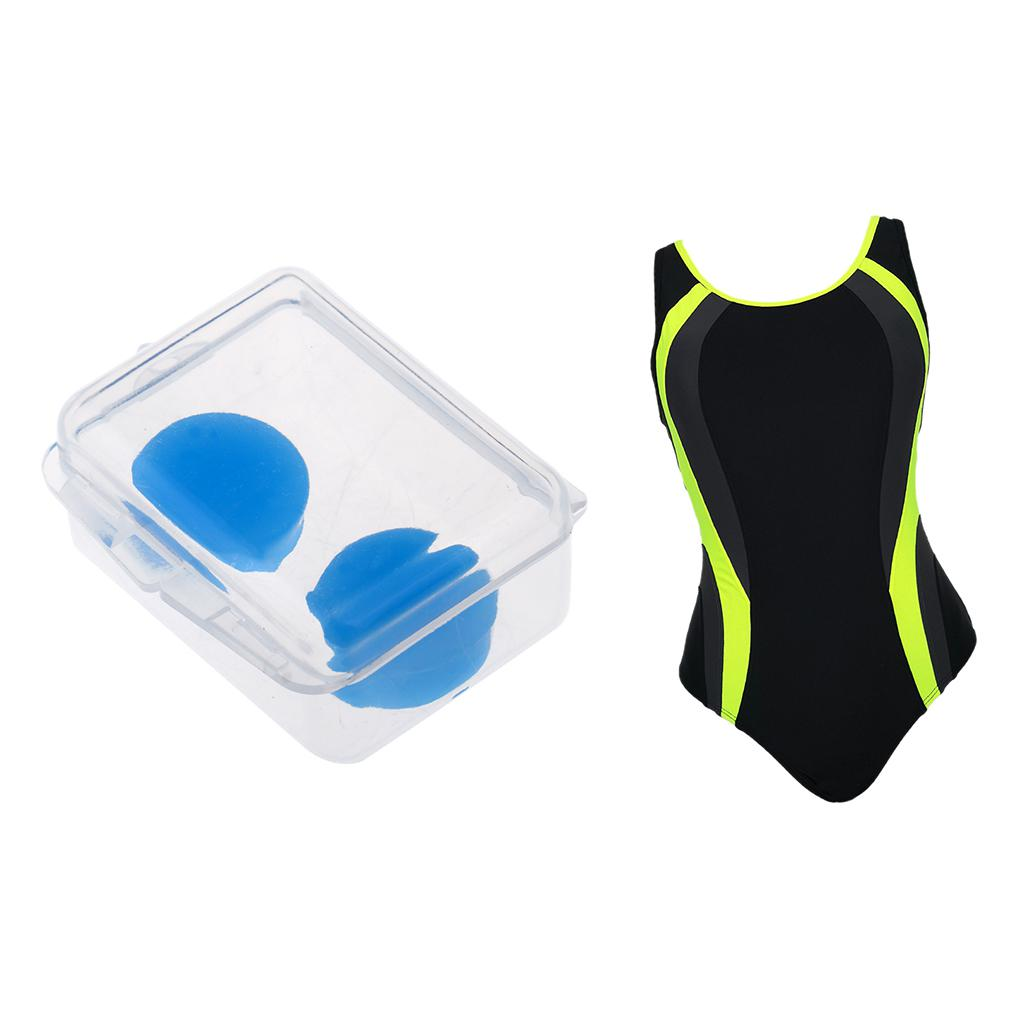 1Pc Bathing Suit Sleeveless Beachwear Wetsuit Athletic Swimwear for Water Sports & 2pcs Soft Silicone Ear Plugs