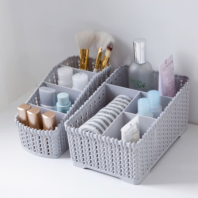 Multi-grid Imitation Rattan Plaited Cosmetics Storage Box Creative Desktop Makeup Organize Storage Box Small Objects Container