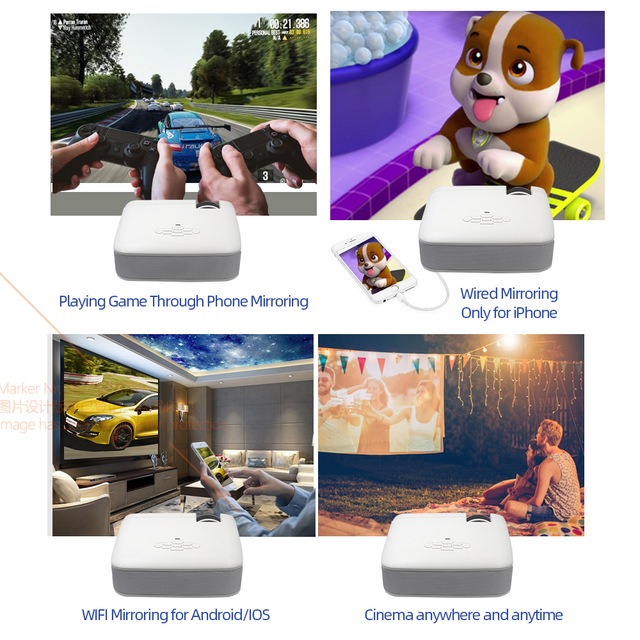 AUN LED Mini Projector D40W,Video Beamer for Home Cinema.1600 Lumens, Support HD, Wireless Sync Display For iPhone/Android Phone 3