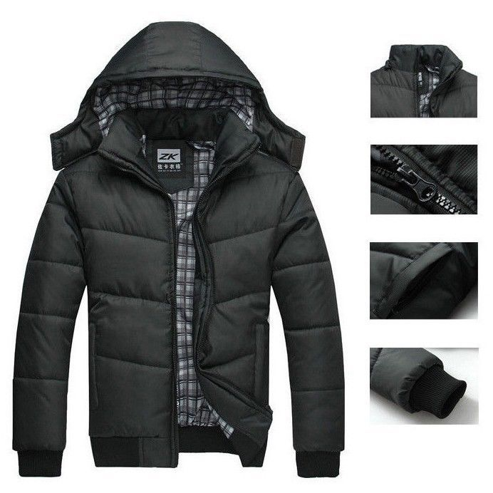 2017 Men's Winter Hoodies Quilted Jacket Warm Fashion Male Puffer ...