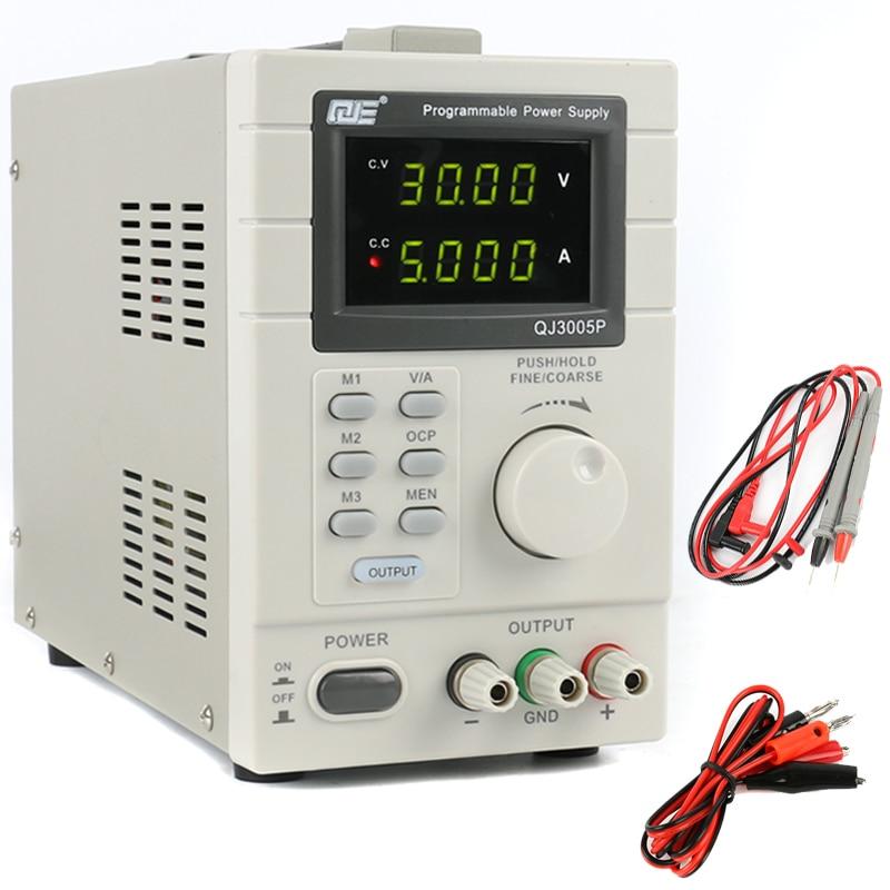QJE QJ3005P Laboratory Adjustable LCD Digital Linear Programmable DC Power Supply 30V 5A 0.01V 0.001A 220V USB Remote Control ka3005p programmable precision adjustable dc linear power supply digital 30v 5a 0 01v 0 001 laboratory power