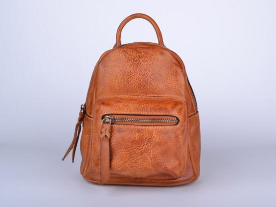 High Quality Women Genuine Leather Cow Skin Soft Small Backpack School Bag