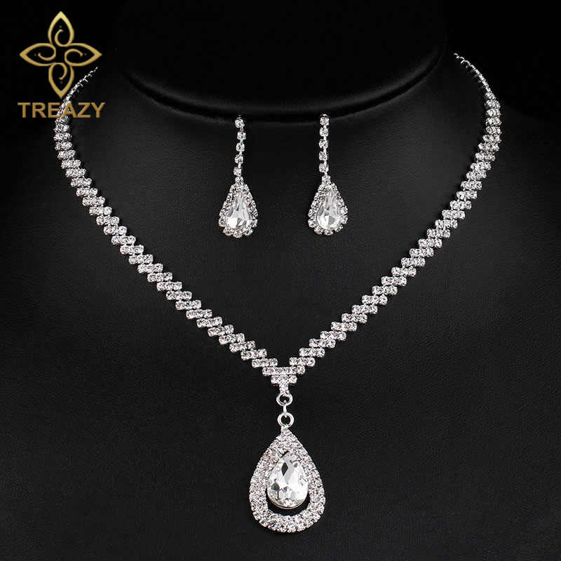 TREAZY Fashion Waterdrop Design Crystal Bridal Jewelry Sets Silver Plated Women Necklace Earrings Wedding Engagement Jewelry Set