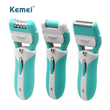 Kemei 3 en 1 recargable trimmer eléctrico del pelo dama depiladora de piel  muerta de pie quitar el pelo Eliminación de la pierna de las mujeres de las  ... 68c69ca82a90
