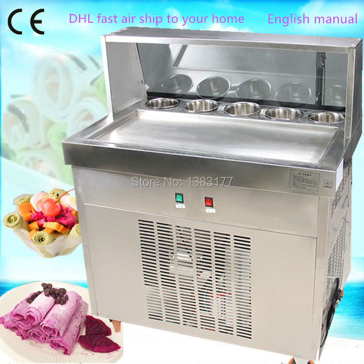 free ship to your home electric fry ice cream machine one pan milk ice roll machine R410 fried ice pan machine