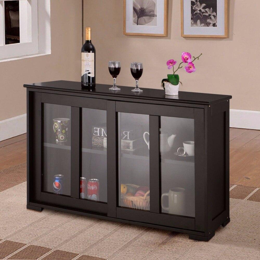 Armoire de rangement pour la maison Buffet placard porte coulissante en verre étagère garde-manger bois armoires de cuisine nouveau HW53867