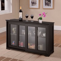Home Storage Cabinet Sideboard Buffet Cupboard Glass Sliding Door Shelf Pantry Wood Kitchen Cabinet New HW53867