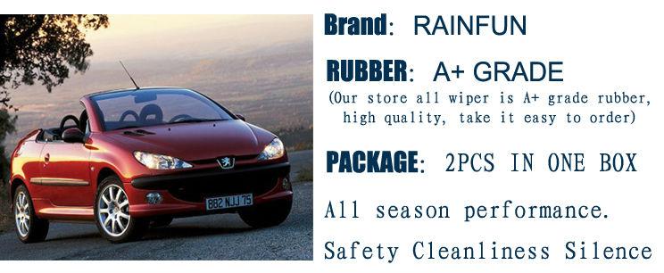 """RAINFUN специальный автомобиль стеклоочистителя для PEUGEOT 206(98-)/PEUGEOT 206 SW(02-07), 2""""+ 16"""" стеклоочиститель с натуральным каучуком заправка"""