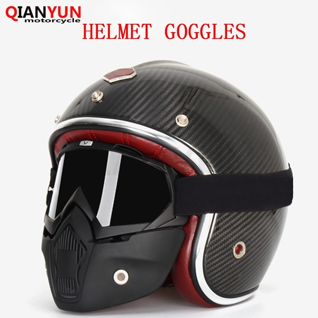 Universal Motorcycle Helmet Goggles Vintage Racing Open Face Helmet Fack Mask Dust Ski Snow Google for Harley Scooter Cafe Racer