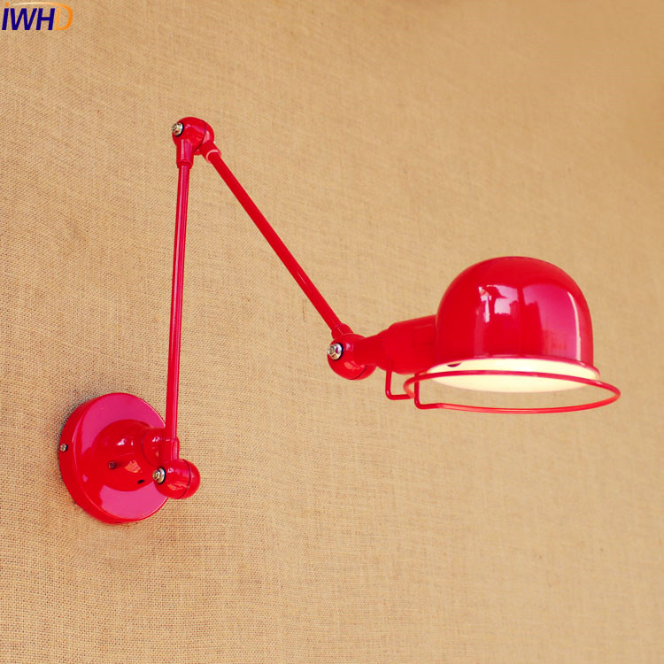 IWHD RED Modern LED Wall Lights Fixtures Luminaire Home Lighting Iron Swing Long Arm Wall Lamp Sconce Lamparas De Pared modern acrylic led wall lights bedroom bedside wall lamp lampara de pared bed room decoration lighting wall sconces