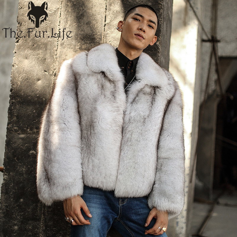 New Fashion Whole Skin Fox Fur Coat Short Style For Men's Fur Jackets Thick Warm Winter Luxury Fox Natural Fur Outerwear