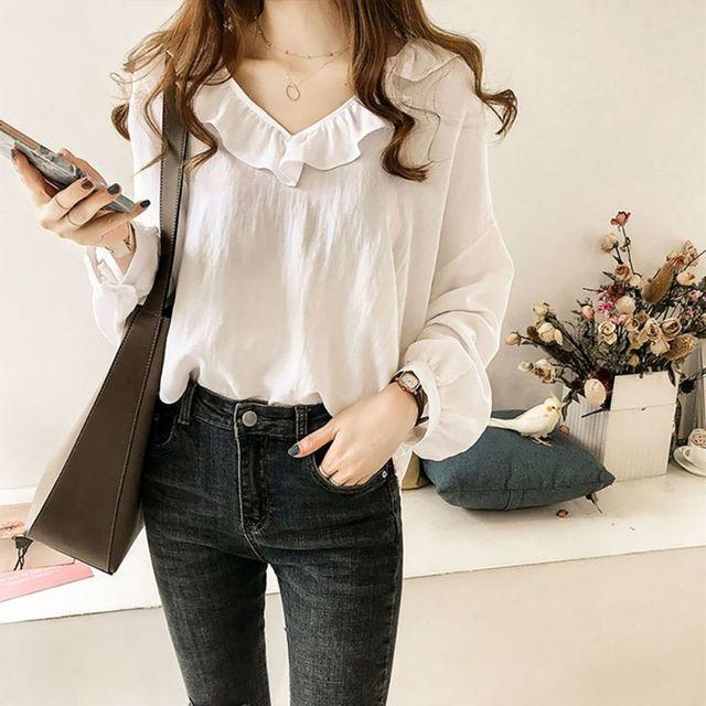45b477438a59d Plus Size 4XL White Ruffle Neck Blouse Lace Casual Top Women V Neck Long Sleeve  Plain