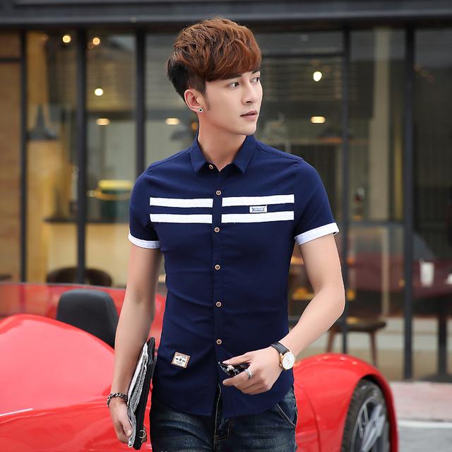 Verão Estilo Inglaterra Moda Masculina Camisas de Manga Curta Sólida Fina Magro lavar E Vestir ii86 Tendência Maré Camisa Céu Azul Branco Verde