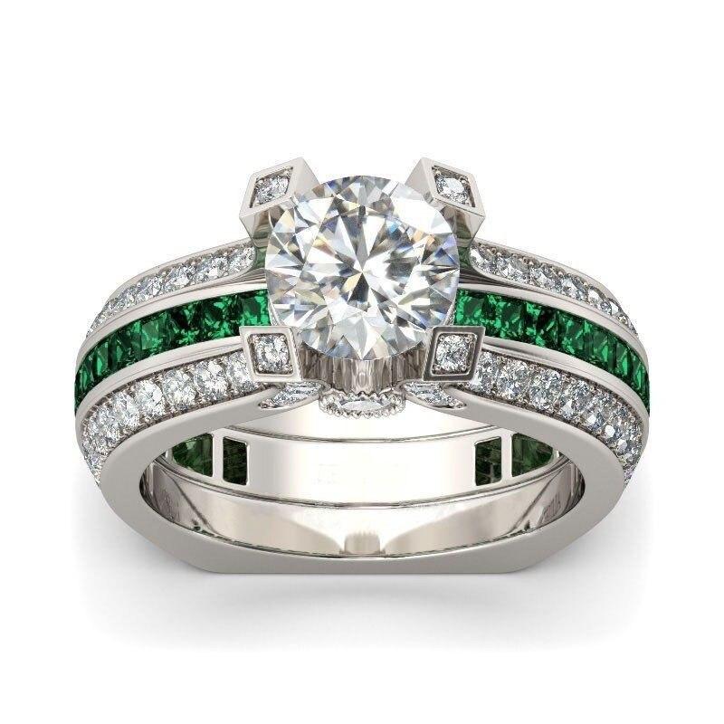 Hainon Luxus Weiblichen Ring Sets Silber Farbe Gefüllt Schmuck Vintage versprechen Ringe Für Frauen Grün Zirkon Hochzeit Verlobungsringe