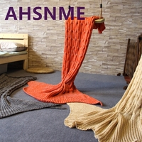 AHSNME Spring Bedding Sofa Mermaid Blanket Wool Knitting Fish Style Little Tail Blankets Warm Sleeping Child
