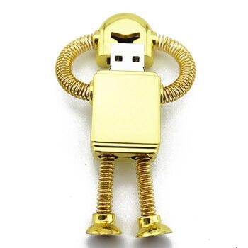 100% Real Capacity Gold Metal Robot Usb Flash Drive 512GB Creativo Pendrive 1TB Memory Stick 16/32/64GB Gift Pen Drive 2TB 128GB