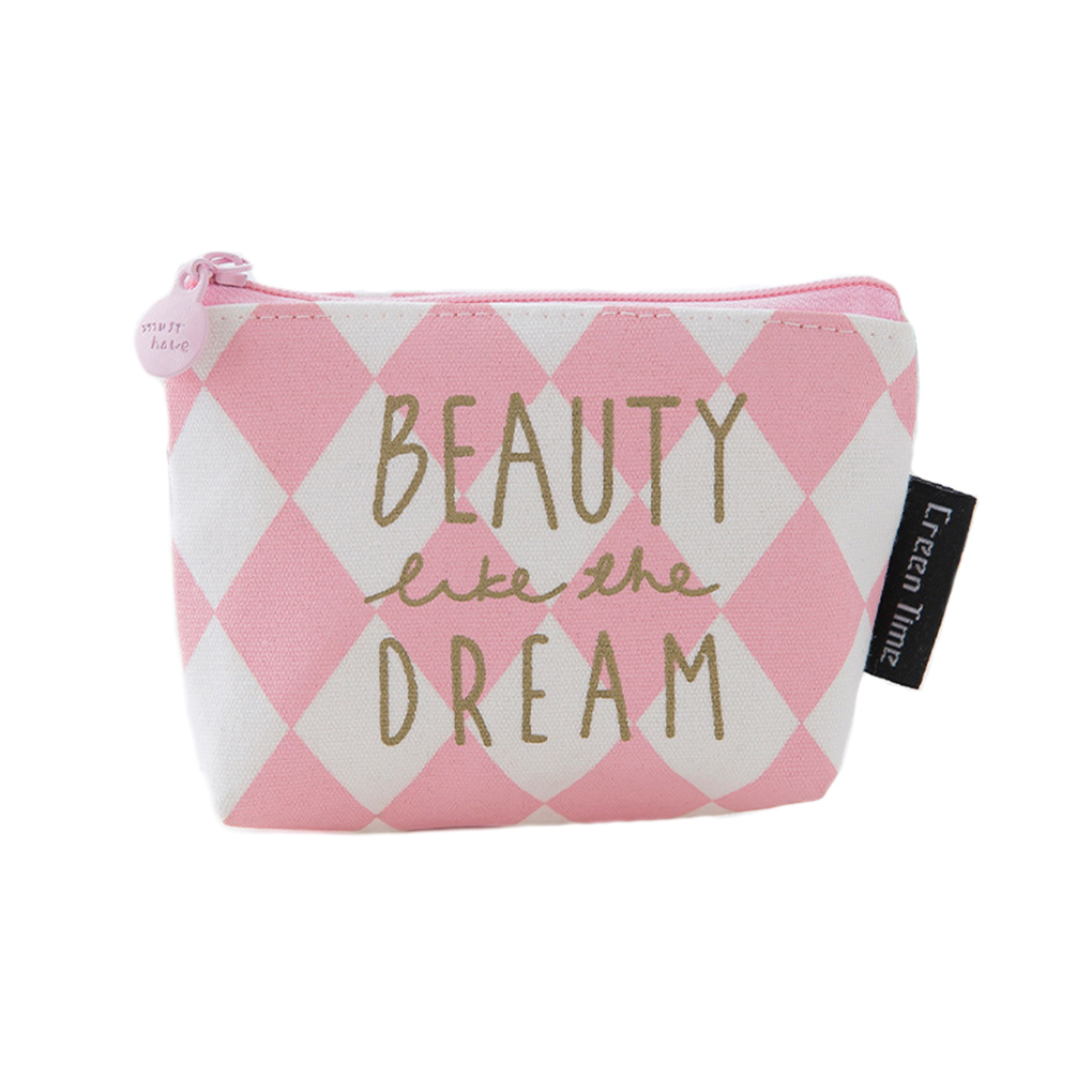 Cute Pink Decoration Canvas Coin Bag Zipper Mini Wallet Girls Portable Coin Card Key Purse Bag 4 Color