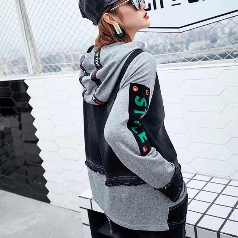 Max LuLu Coreano Di Lusso di Marca Ragazze di Harajuku Motociclista Streetwear Delle Donne Del Denim Giacca Bomber Casual Con Cappuccio Donna Jeans Cappotto Chaquetas