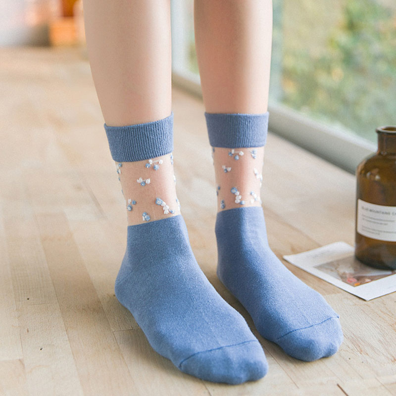 Kids of Cute sexy stockings and Lace Stockings Fashion Trend cotton Small Fragmented Glass Filament Transparent Stitching Long in Stockings from Underwear Sleepwears
