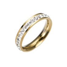 New Classic 316L Stainless Steel Rings For Women Gold Color Crystal Engagement Wedding Ring Jewelry engagement rings for women wedding jewelry big crystal stone ring stainless steel jewelry